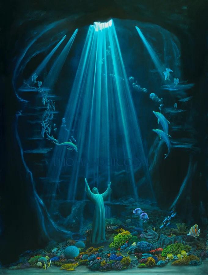 Christ of the Deep, original painting by Hawaii artist Thomas Deir