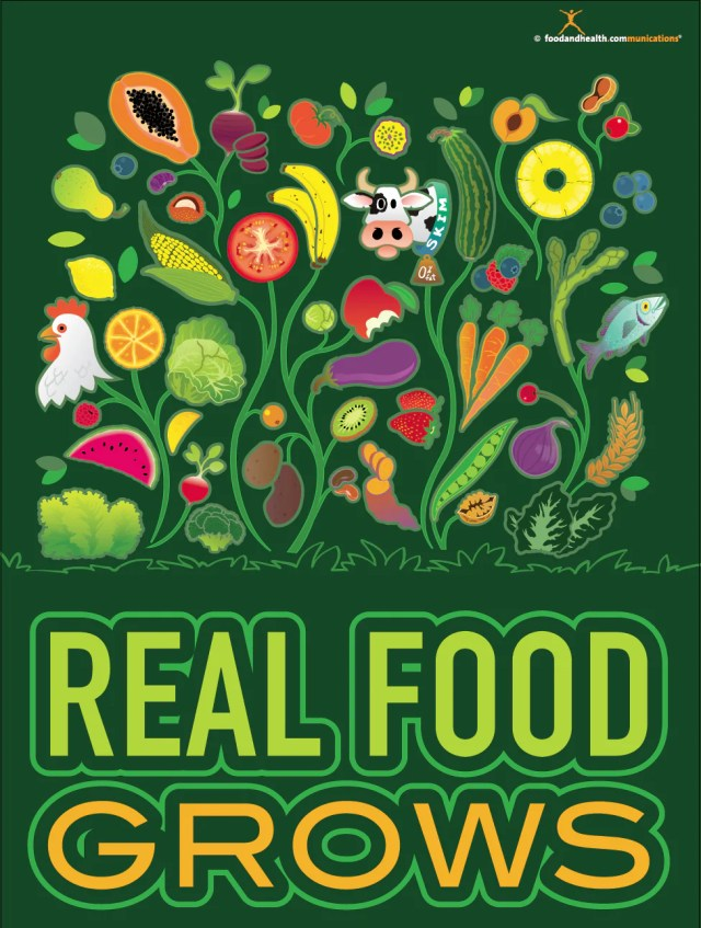Real Food Grows Poster - Nutrition Poster - Motivational Poster - Nutrition Education Store