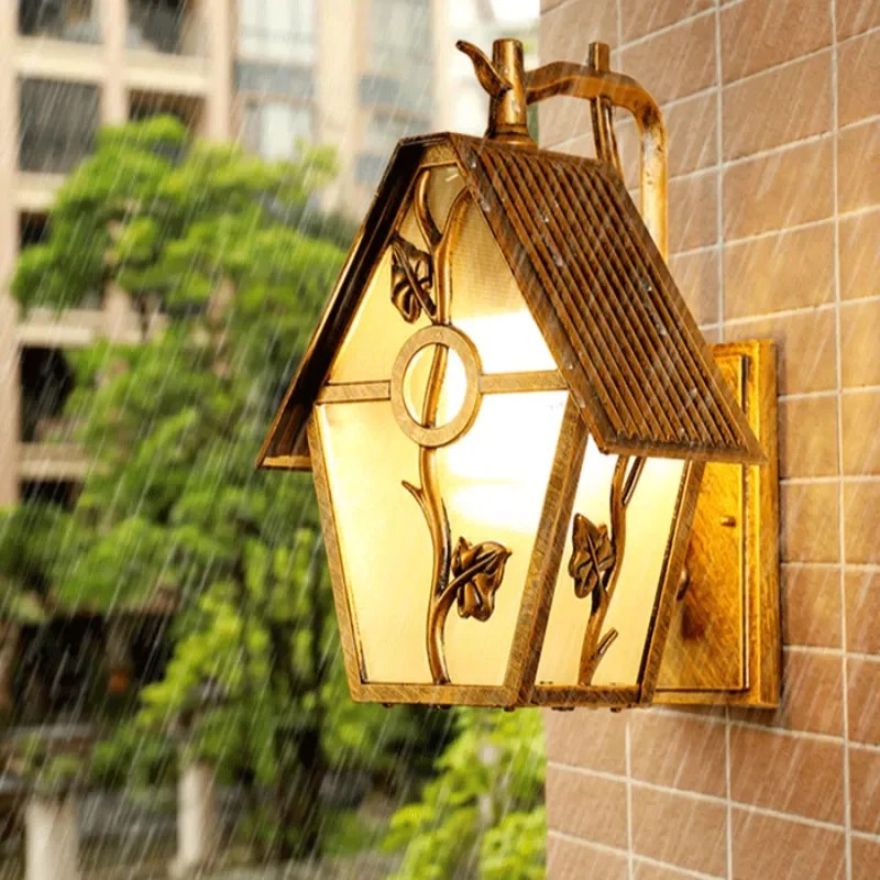 lead glass birdhouse sconce lights indoor wall outdoor exterior lighting garden patio porch house nordic home decor rustic country farmhouse cottage
