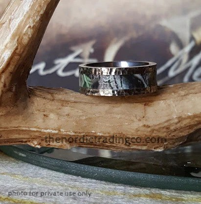 Hammered Titanium Mens Band Nature Black Forest Trees