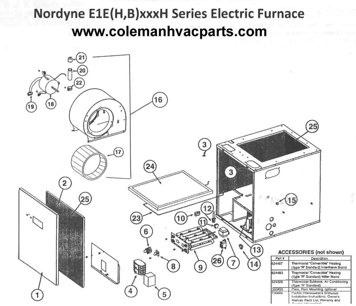 E1EH017H Nordyne Electric Furnace Parts – HVACpartstore