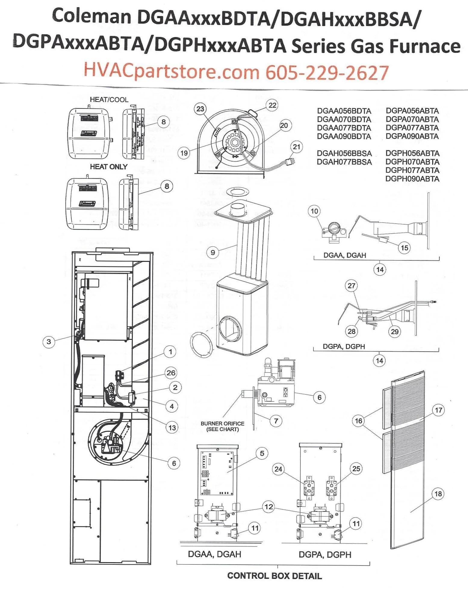 DGAA077BDTA Coleman Gas Furnace Parts – HVACpartstore