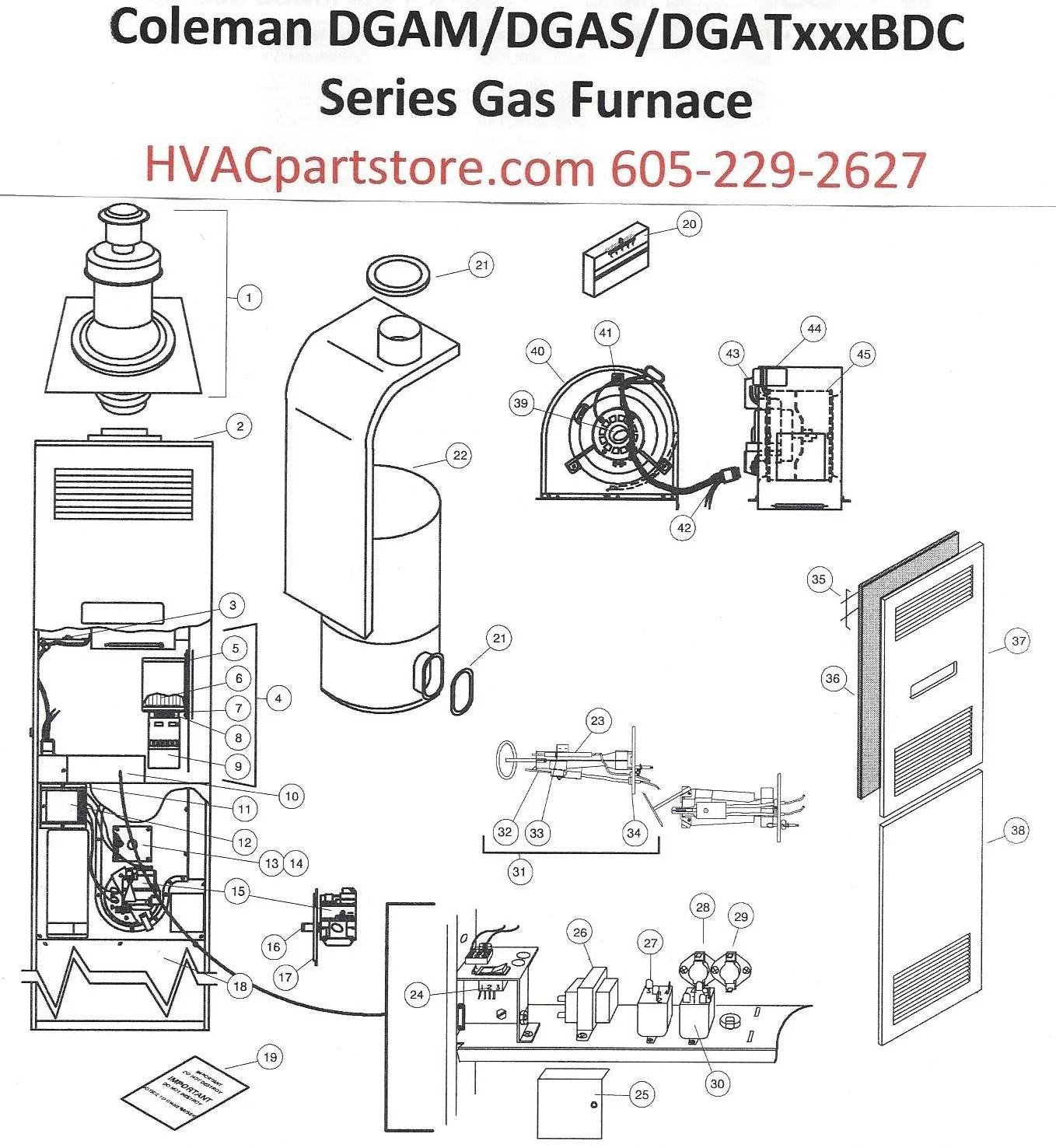 DLAS056BDC Coleman Gas Furnace Parts – HVACpartstore