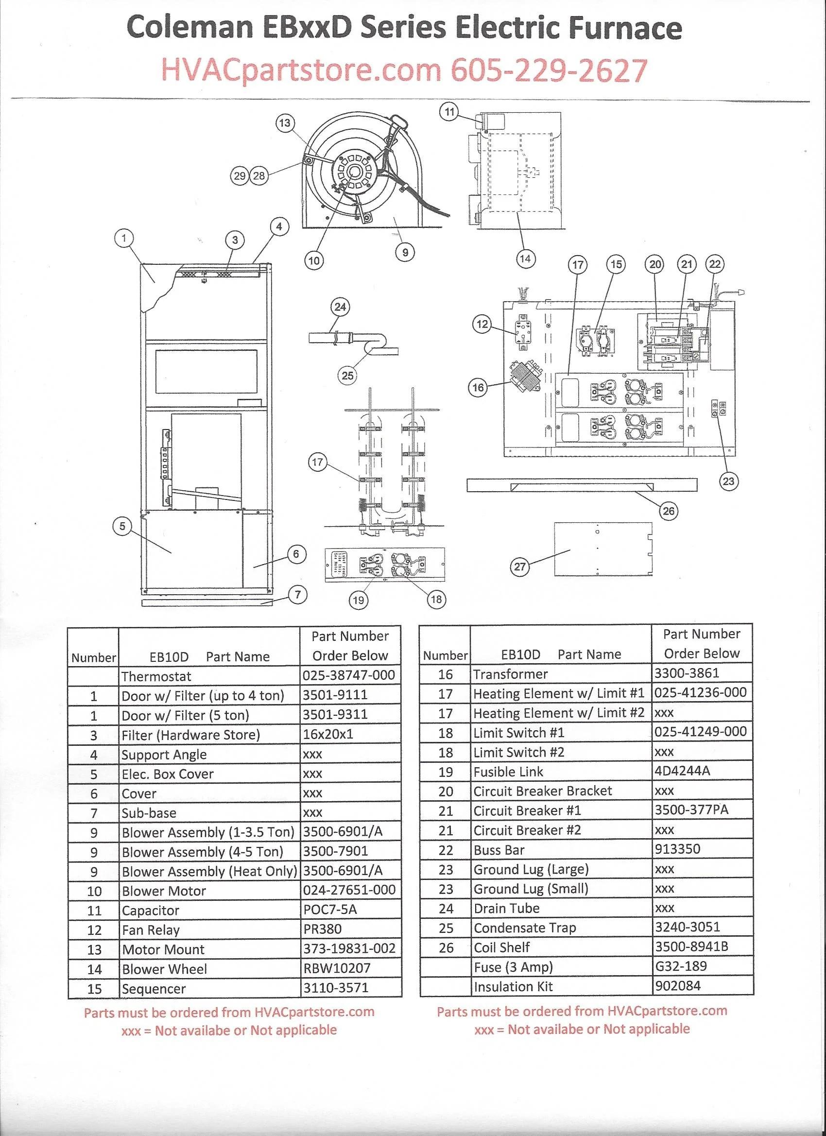 EB10D Coleman Electric Furnace Parts – HVACpartstore