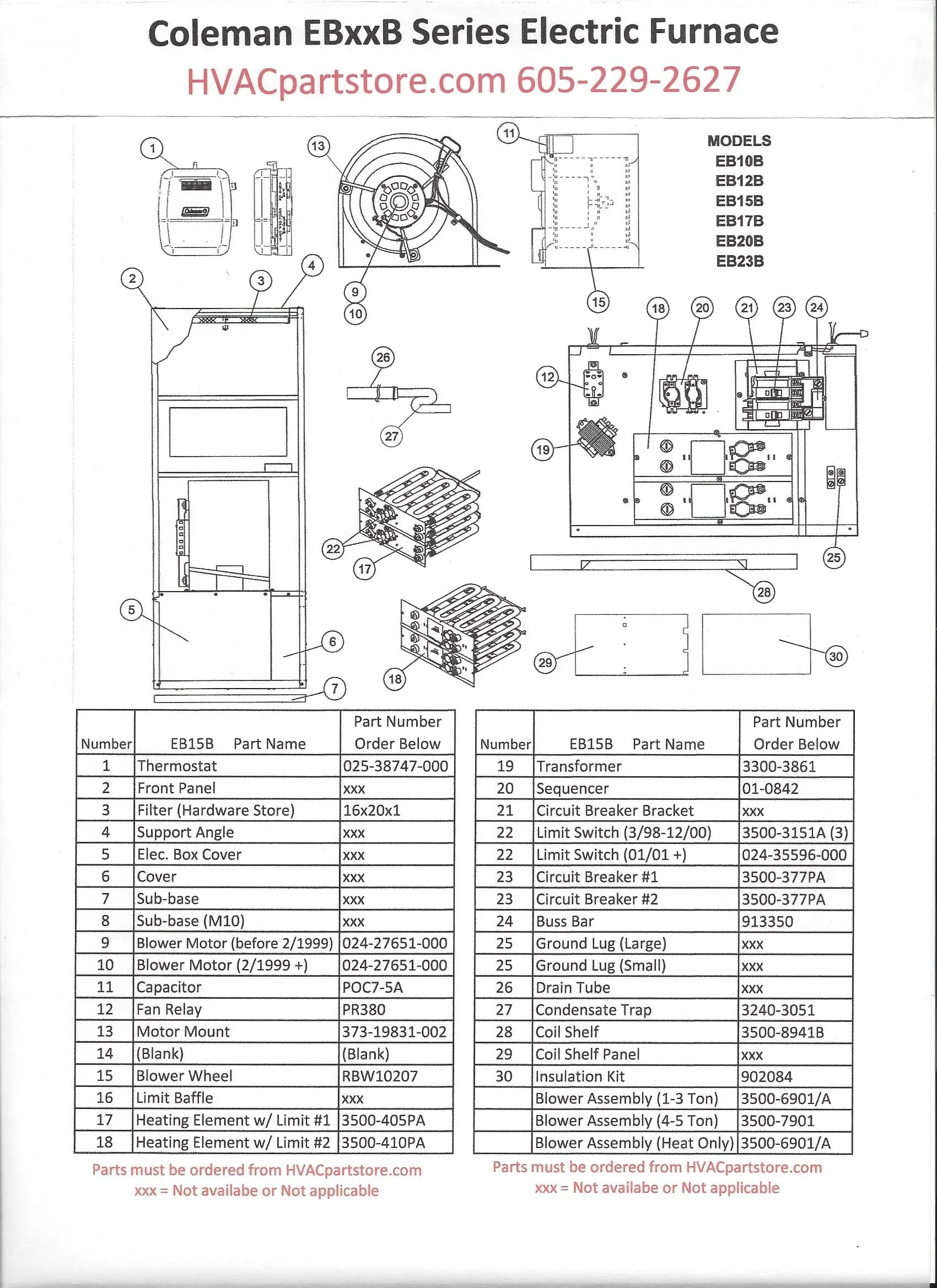 EB15B Coleman Electric Furnace Parts – HVACpartstore