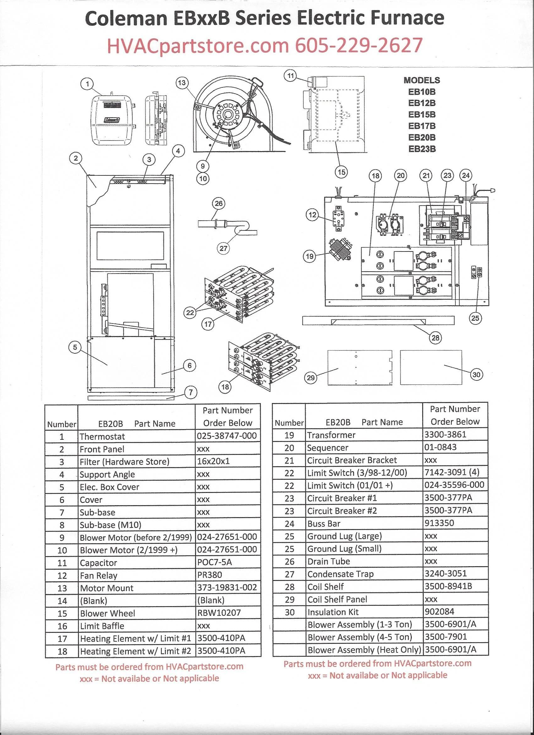 EB20B Coleman Electric Furnace Parts – HVACpartstore