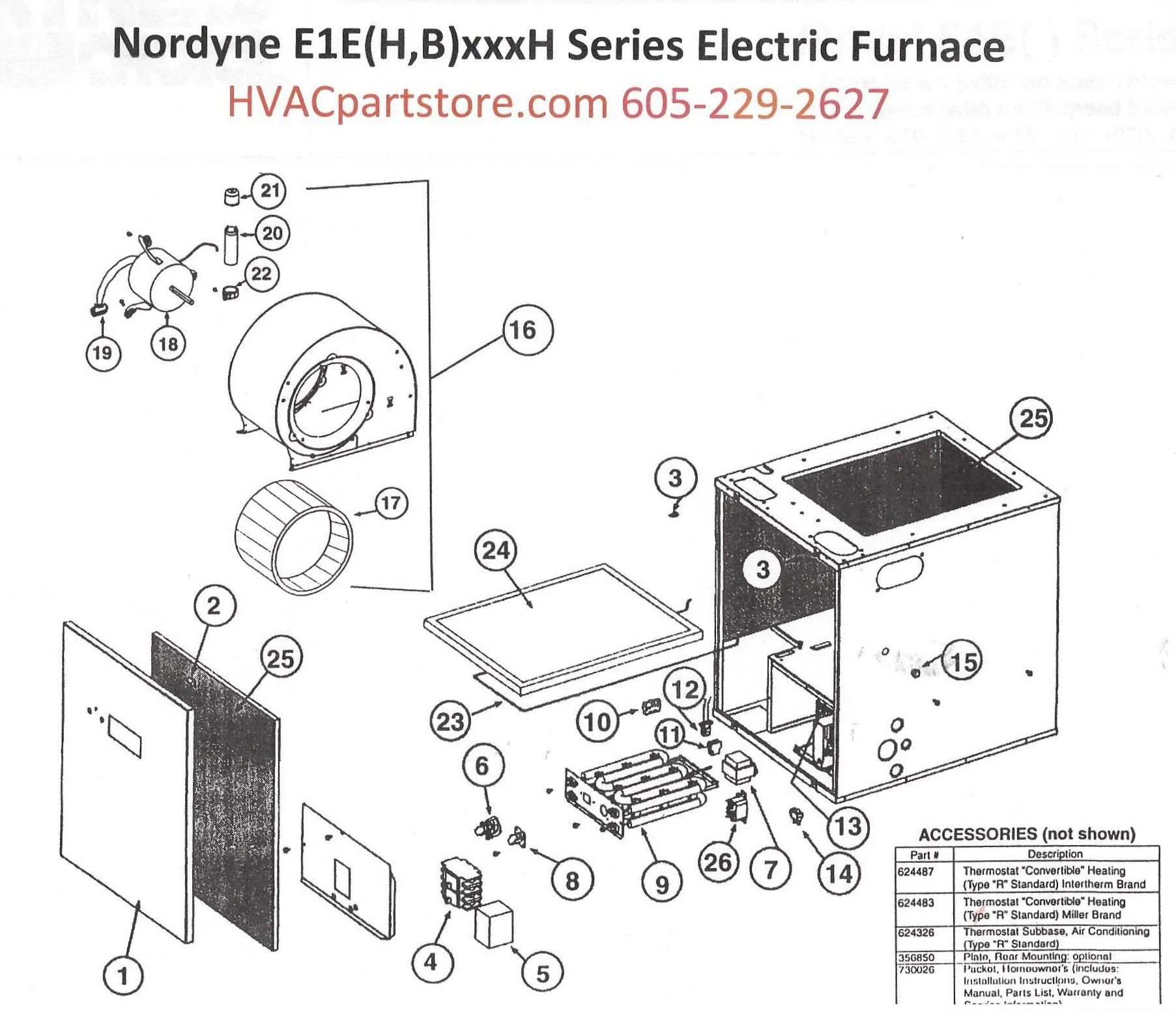 E1EH012H Nordyne Electric Furnace Parts – HVACpartstore