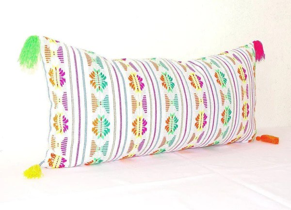 lumbar pillow cover 14x28 mexican embroidered cushion tribal pillow with tassels mexican blanket pillow