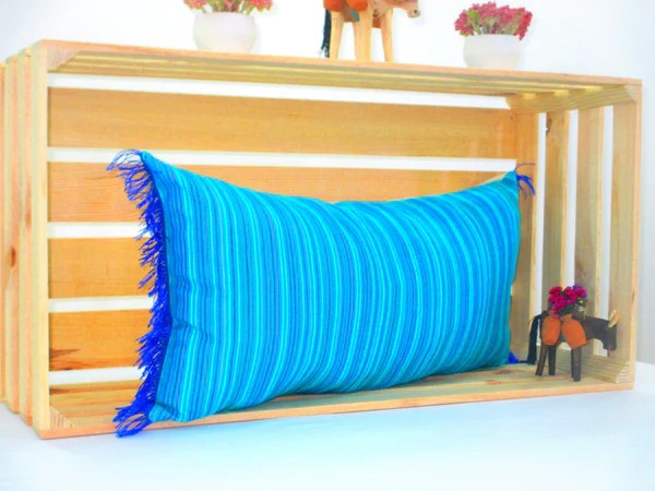 turquoise blue lumbar pillow 14x28 inches striped pillow shams sofa pillow cover colorful throw pillow covers boho pillow pcc70
