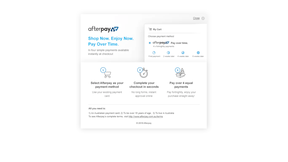 How AfterPay works. Buy now, receive now, pay later