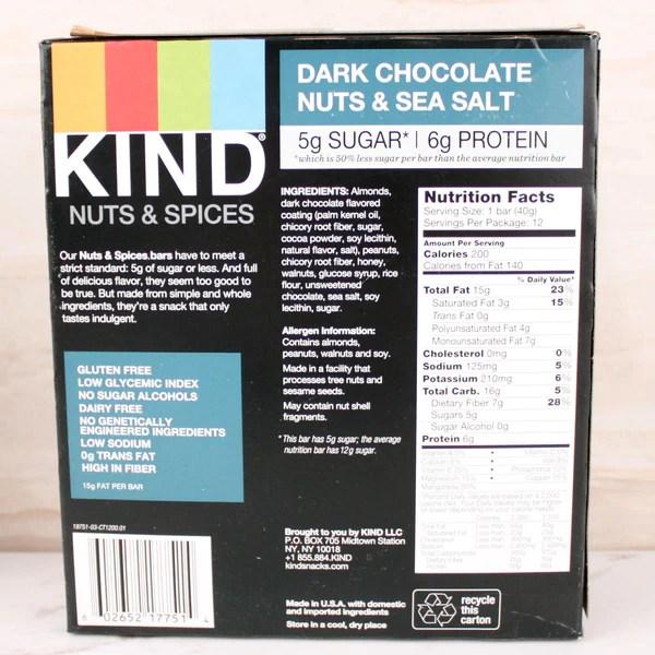 Kind Dark Chocolate Nuts Sea Salt Bar Milk and Eggs