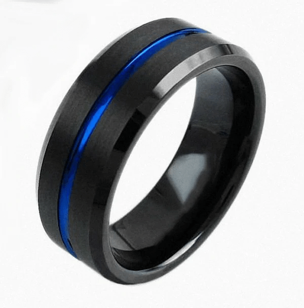Thin Blue Line Black And Blue Tungsten Carbide Ring Thin