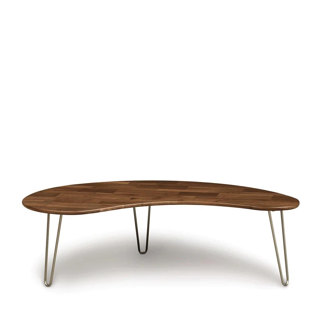 essentials kidney shaped coffee table metal legs