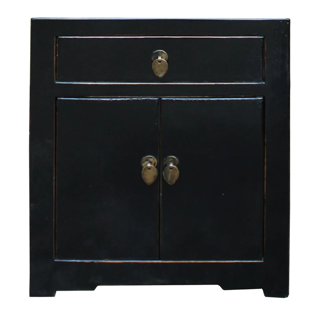 Oriental Distressed Black Lacquer Side End Table Nightstand Cs4981s