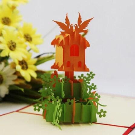 Bird Nest with flowers- pop up card- 3D handmade cards ...