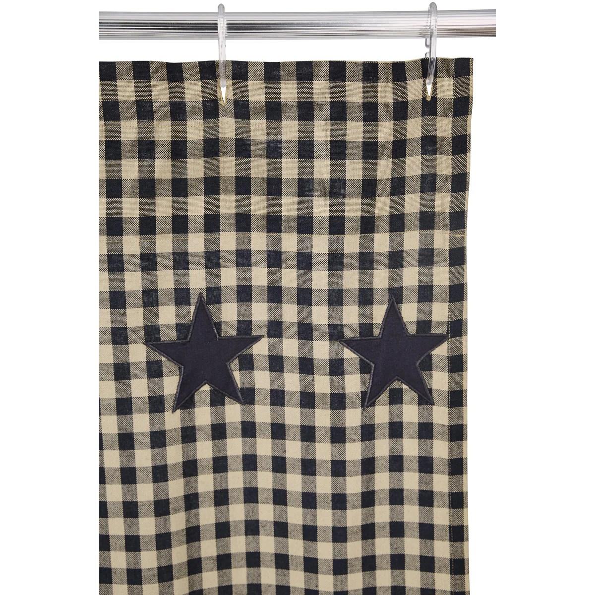 black star scalloped shower curtain