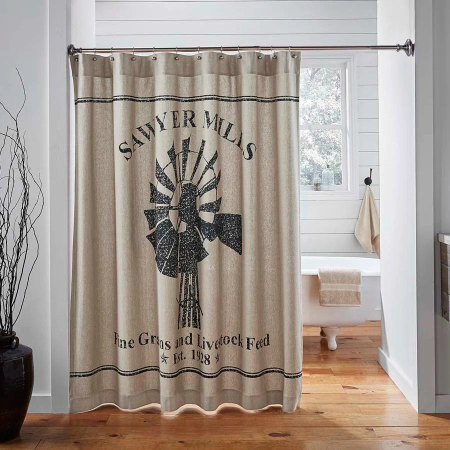 sawyer mill charcoal windmill shower curtain