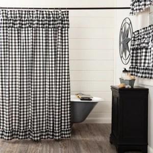 annie buffalo check black ruffled shower curtain