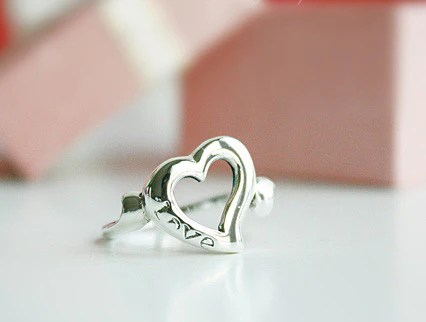 925 Sterling Silver Heart Ring Love Ring Gift Idea Rocker Gothic Woman Jewelry Sr 011