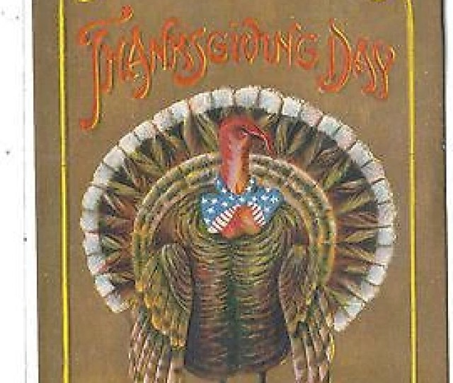 Thanksgiving Post Card Turkey With Redwhite And Blue Bow Tie Cakcollectibles