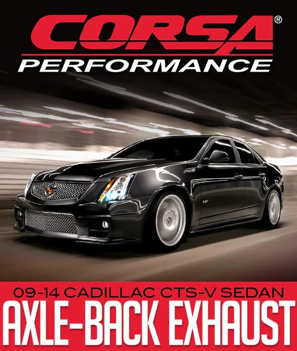 corsa performance sport axle back exhaust 2009 2014 cadillac cts v sedan