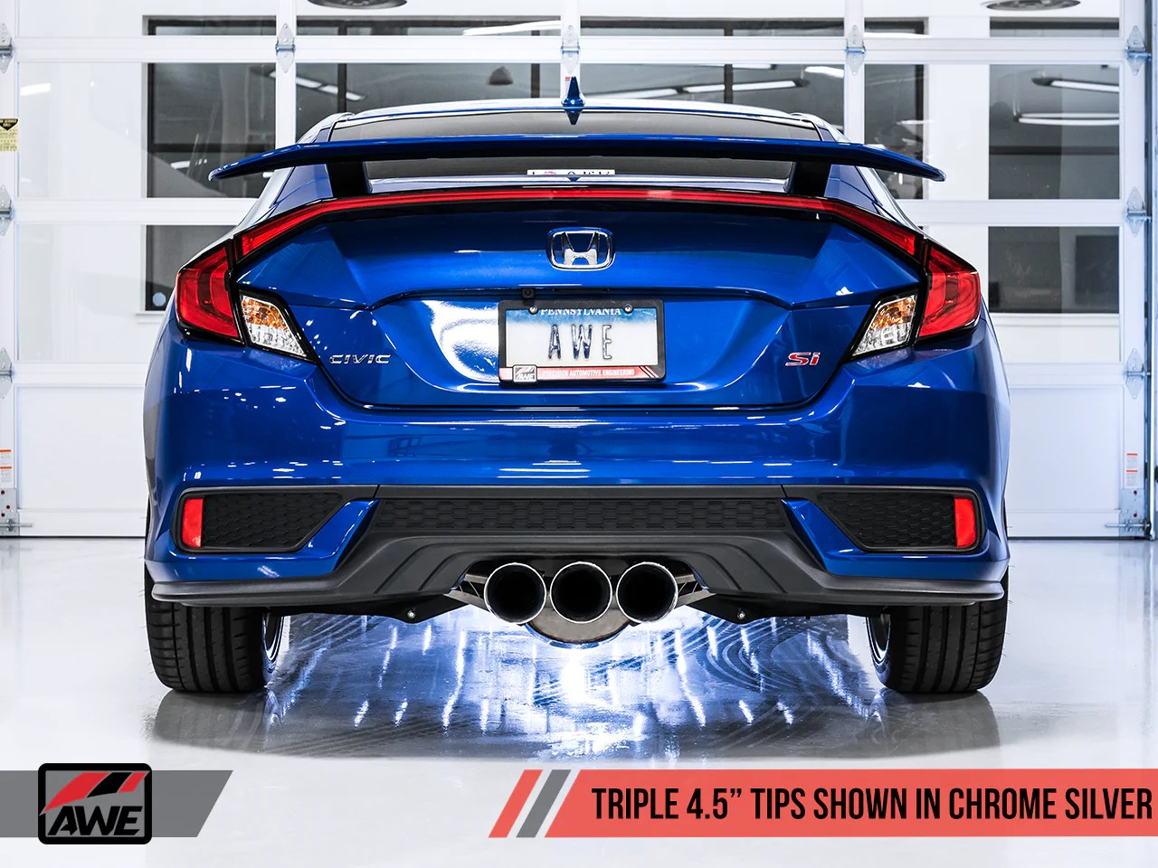 awe touring edition exhaust for 10th gen civic si coupe sedan includes front pipe triple chrome silver tips