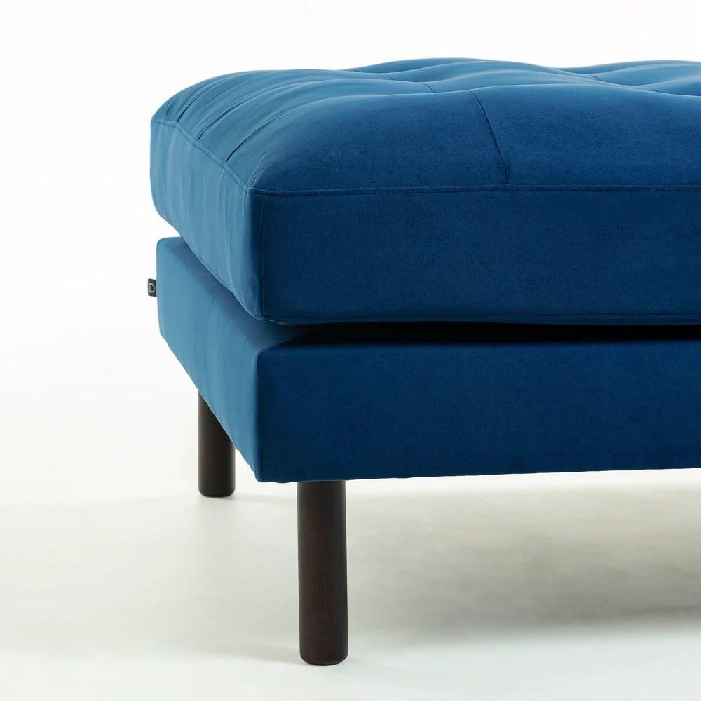 humphrey square ottoman blue velvet