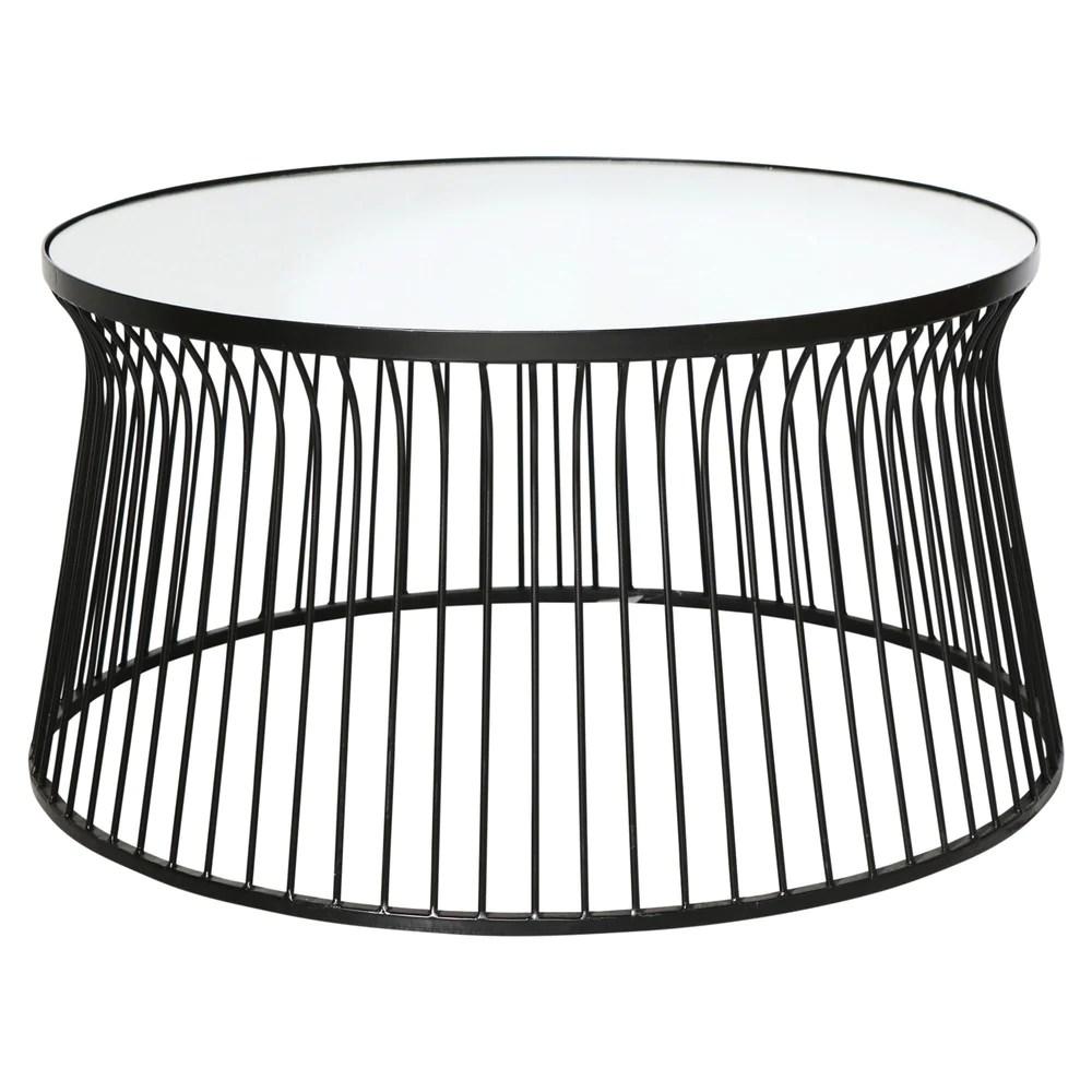 spun metal round mirrored coffee table black