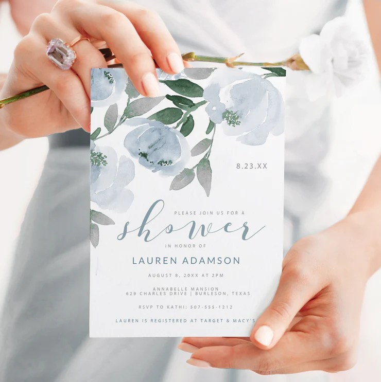 Here are our tips to plan the best party. Bridal Shower Invitations Template 5 X 7 Soft Dusty Blue Watercolo