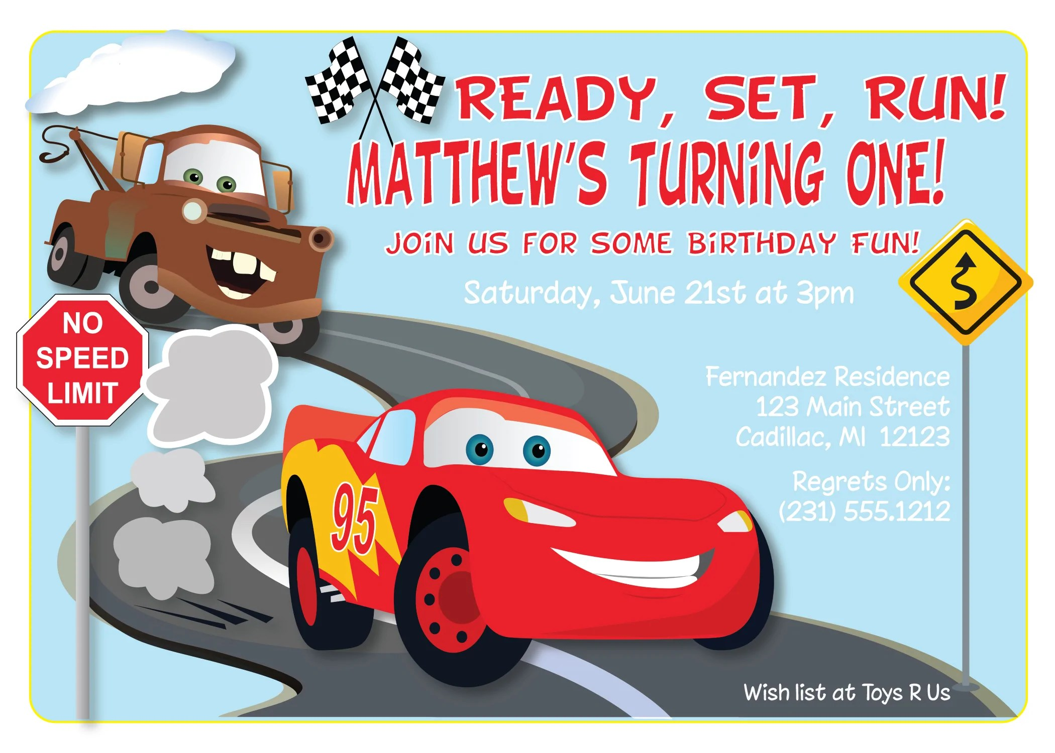 feste besondere anlasse cars lightning mcqueen birthday party invitation canadiana cz