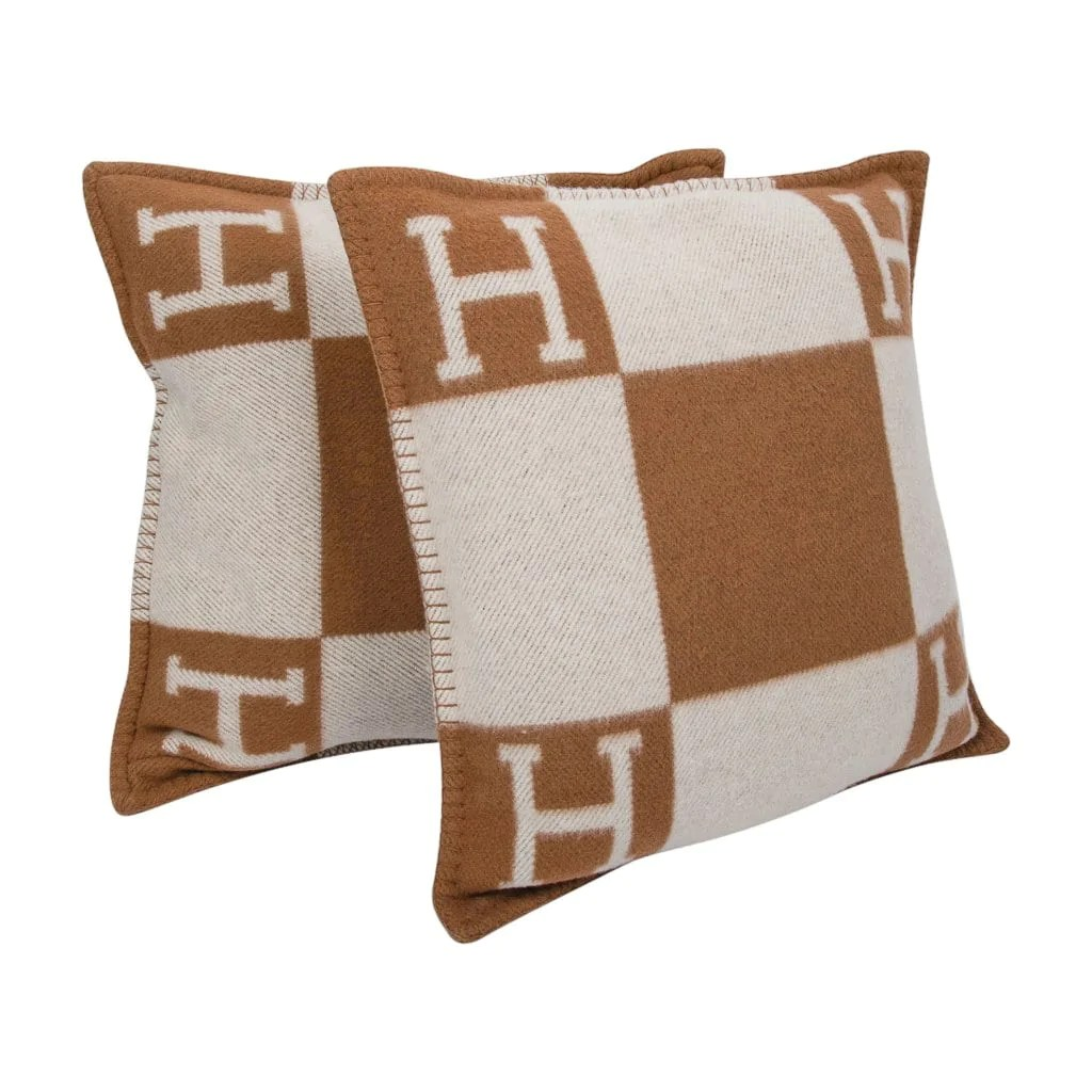 hermes pillow avalon pm signature h camel ecru throw cushion set of two new