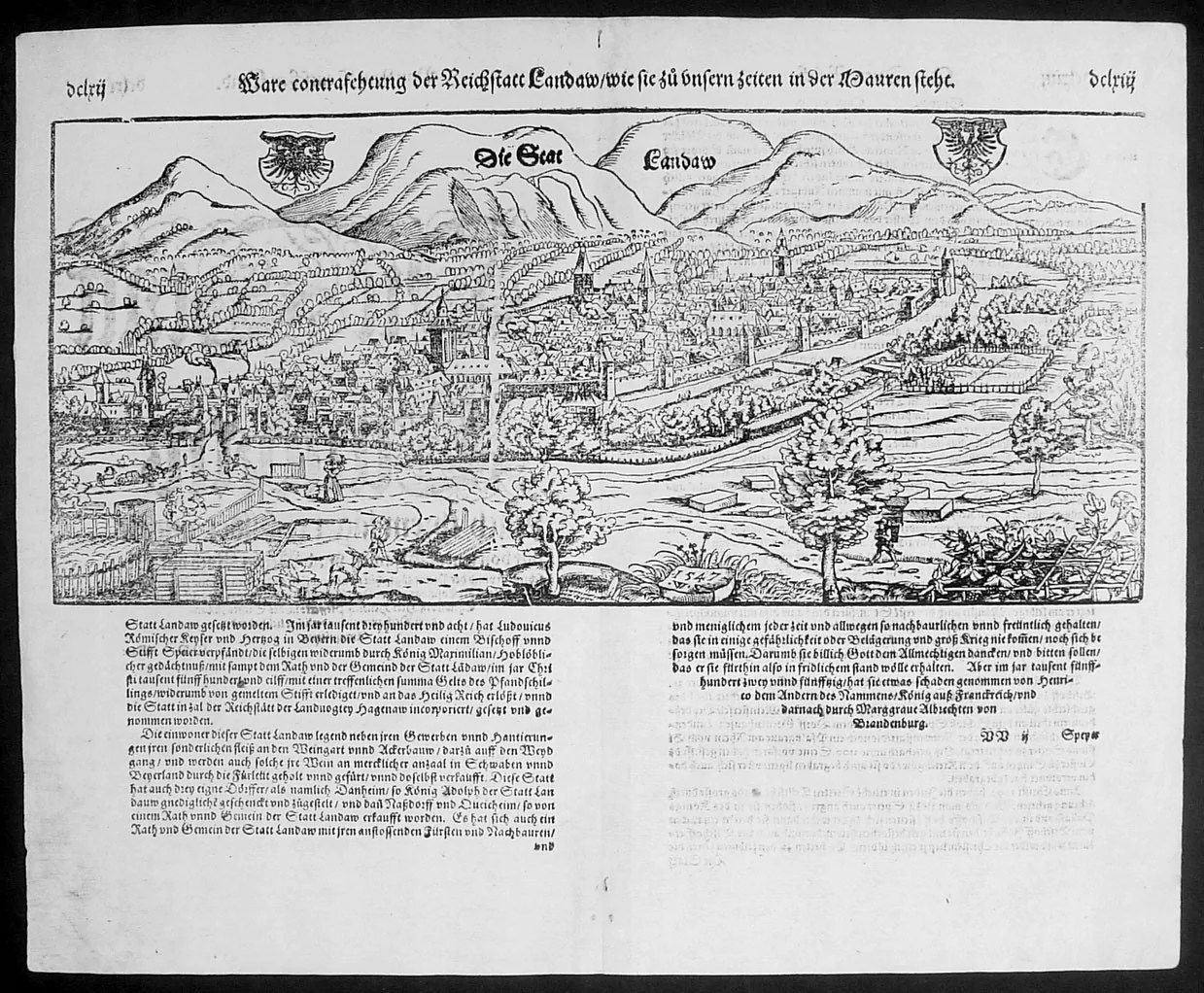 1574 Munster Large Antique Print - View of The German City ...