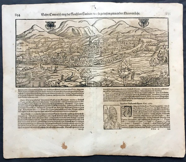1598 Munster Antique Map a View of the German City of ...