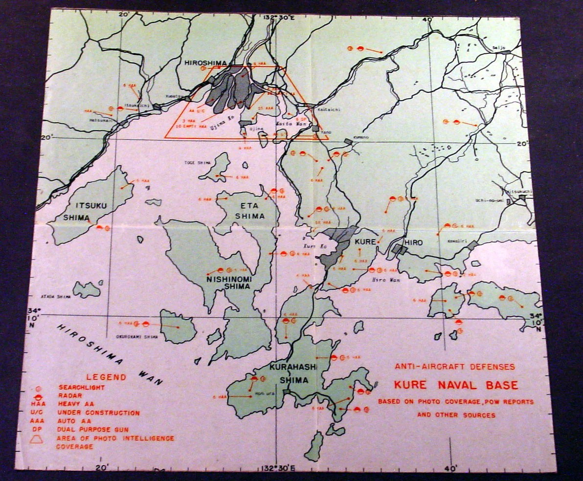 1945 Original US Army Airforce Map Defenses of Hiroshima   Naval     1945 Original US Army Airforce Map Defenses of Hiroshima   Naval Base at  Kure Ko  Japan