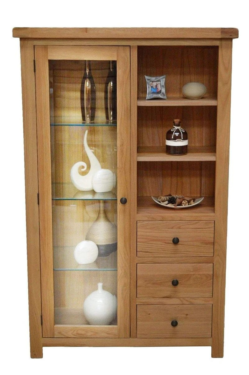 Canton Oak Display Cabinet Storage Amp Glass Door Oak Direct