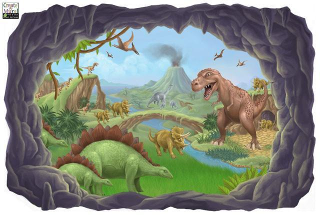 Dinosaur Mural For Kids Room Walls Jurassic Theme Idea