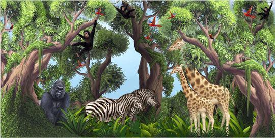 Jungle Animals Mural 1-Kids Wallpaper Church Ministry