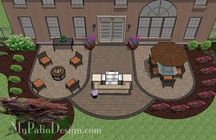 845 sq ft arcs patio design with grill station