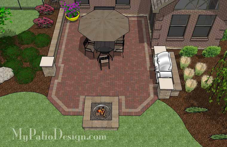 415 sq ft backyard brick patio design with fire pit and grill station