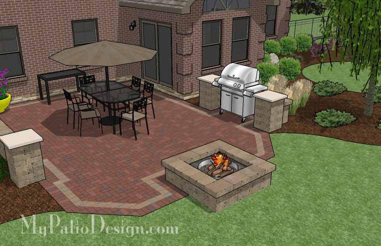 Backyard Brick Patio Design with Fire Pit   Download Plan ... on Backyard Brick Patio id=88907