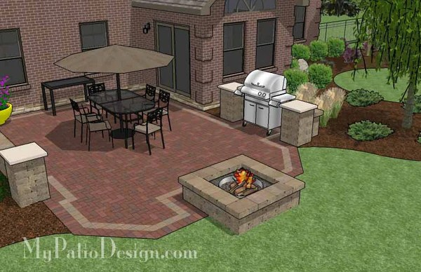 Backyard Brick Patio Design with Fire Pit   Download Plan ... on Outdoor Grill Patio id=73115