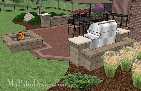 Backyard Brick Patio Design with Fire Pit | Download Plan ... on Backyard Patio Designs With Fire Pit  id=60831