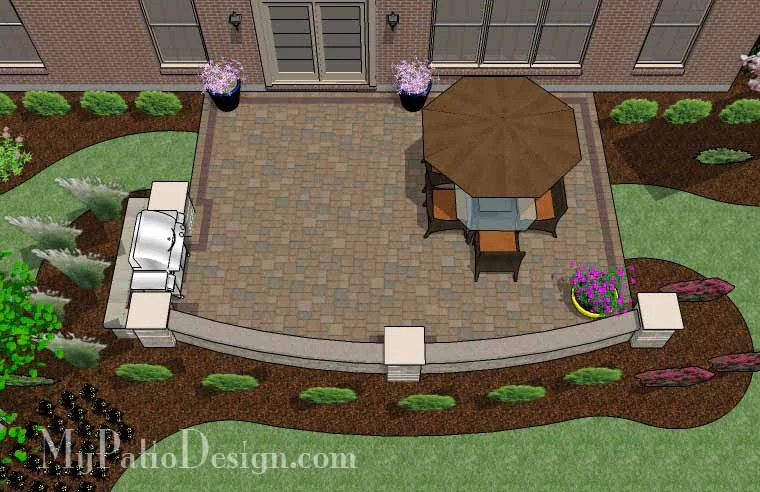 Backyard Patio Design with Grill Station and Seating Wall ... on Patio Grill Station  id=48588