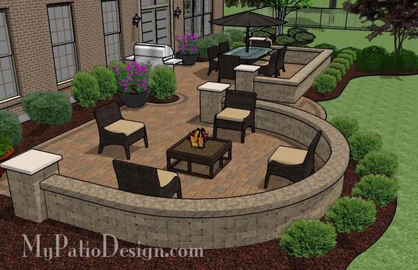 Beautiful Backyard Patio Design with Seat Wall | Download ... on My Patio Design id=85210