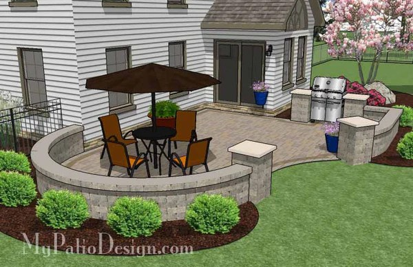 Cheap Backyard Patio Design with Grill Station - 395 sq ... on Patio Grill Station  id=96992