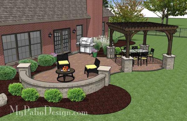 Concrete Paver Patio Design with Pergola | Download Plan ... on My Patio Design  id=66712