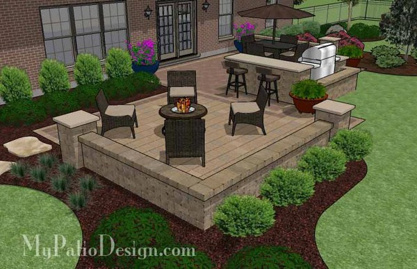 Contrasting Paver Patio Design with Grill Station-Bar ... on Patio Grill Station  id=32244