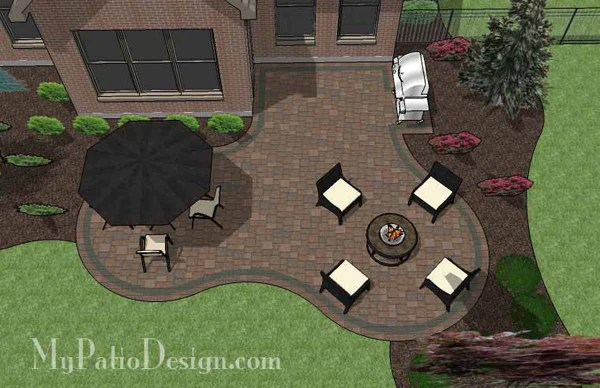 Curvy Backyard Patio Design | Download Patio Plan ... on Backyard Patio Layout id=53495