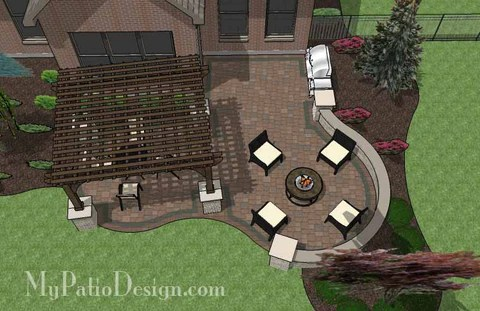 """Corner Patio Design for 6' """"L"""" Shaped Homes ... on L Shaped Backyard Layout id=24731"""