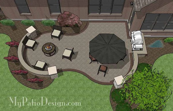 Curvy Brick Patio Design with Seat Wall | Downloadable ... on My Patio Design id=84776